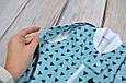 """Безразмерная пеленка на молнии + шапочка """"Каспер"""", Треугольники голубые, фото 7"""