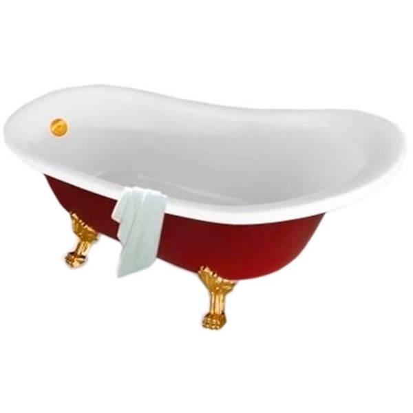 Ванна акриловая Atlantis C-3015 красная (ноги золото)
