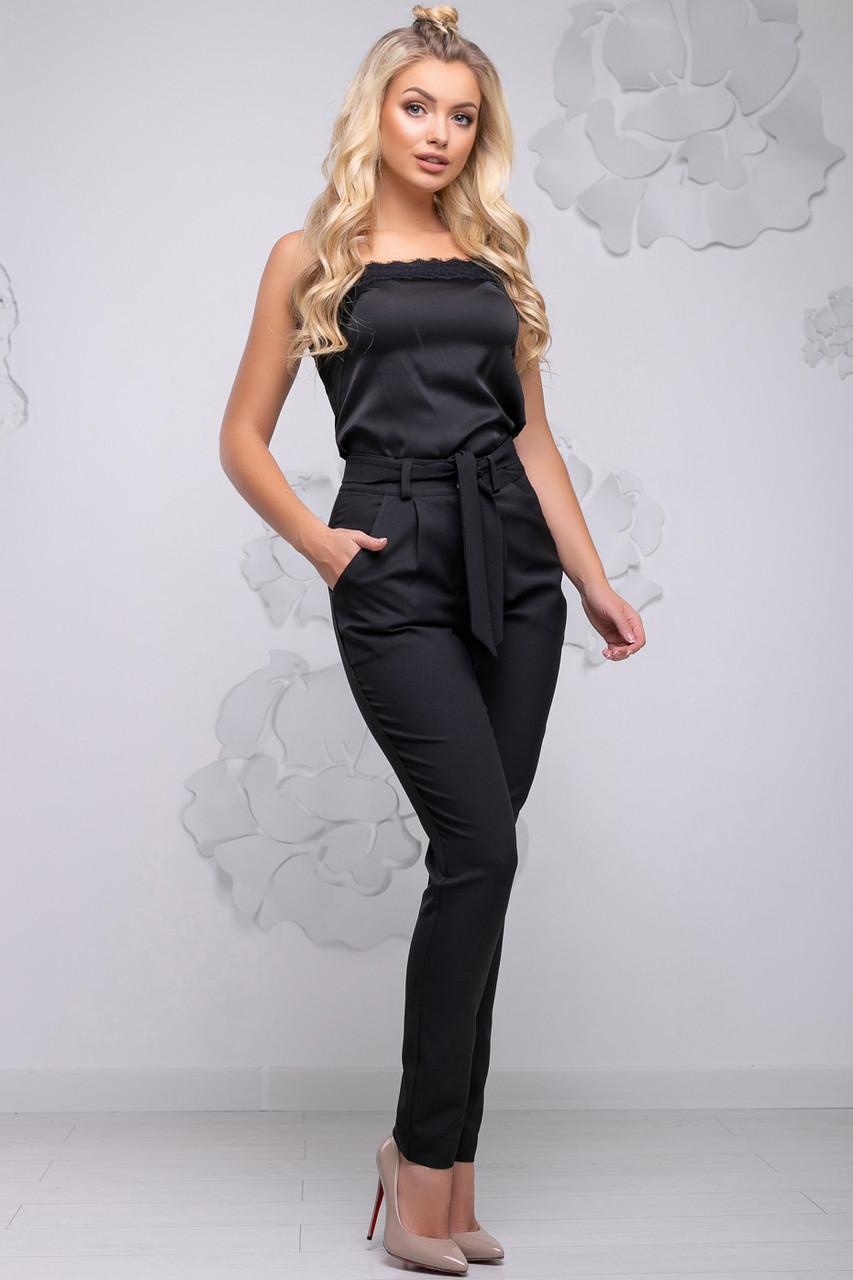 Женские брюки свободные р. от 44 до 54, зауженные к низу, чёрные, костюмка