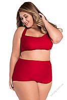 Купальник Розмари большого размера с высокой талией чёрного и красного цвета Plus size