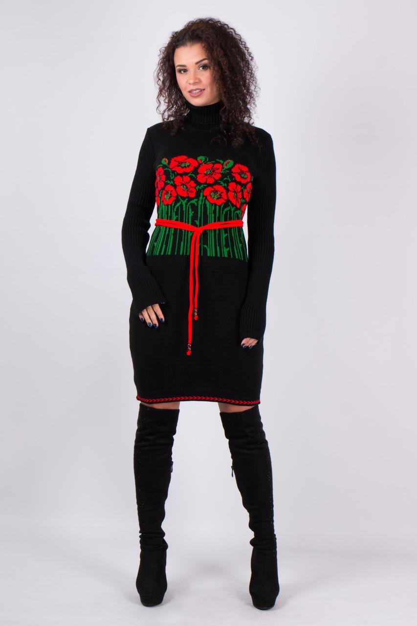Черное платье в этно стиле вязаное с маками с поясом 42-46