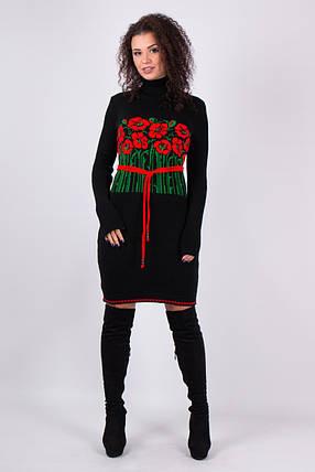 Черное платье в этно стиле вязаное с маками с поясом 42-46, фото 2