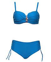 Купальник Селена большие размеры голубого цвета с жемчужной брошью и лифом анжелика на косточках