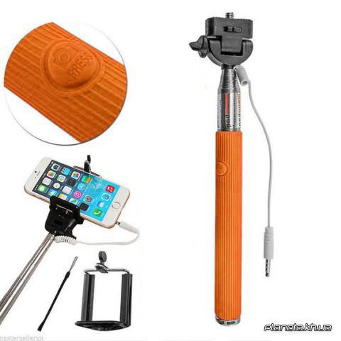 Монопод для селфи Monopod with cable take pole orange