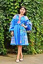 Платье вышиванка лен этно стиль бохо шик, вишите плаття вишиванка платье бохо, синее платье, фото 6