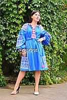 Платье вышиванка лен этно стиль бохо шик, вишите плаття вишиванка платье бохо, синее платье