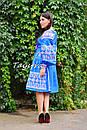 Платье вышиванка лен этно стиль бохо шик, вишите плаття вишиванка платье бохо, синее платье, фото 2