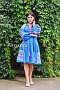 Платье вышиванка лен этно стиль бохо шик, вишите плаття вишиванка платье бохо, синее платье, фото 3