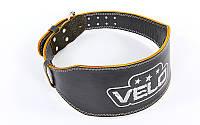 Пояс для пауэрлифтинга кожаный Velo 6628: размер S-XXL