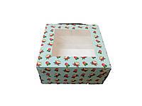 Коробка для пирожного 170*170*90 с окошком (169) новорічна