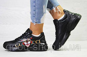 """Женские кроссовки Gucci Tiger """"Black"""" (люкс копия)"""