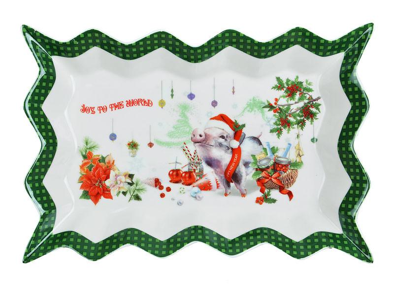 """Блюдо 25,5 см """"Новогодний поросенок"""", Lefard, 985-027"""