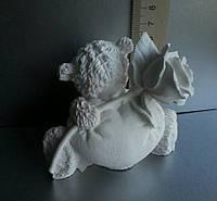 Гипсовая фигурка для раскрашивания статуэтка. Гіпсова фігурка для розмальовування. Мишка с сердцем и розой
