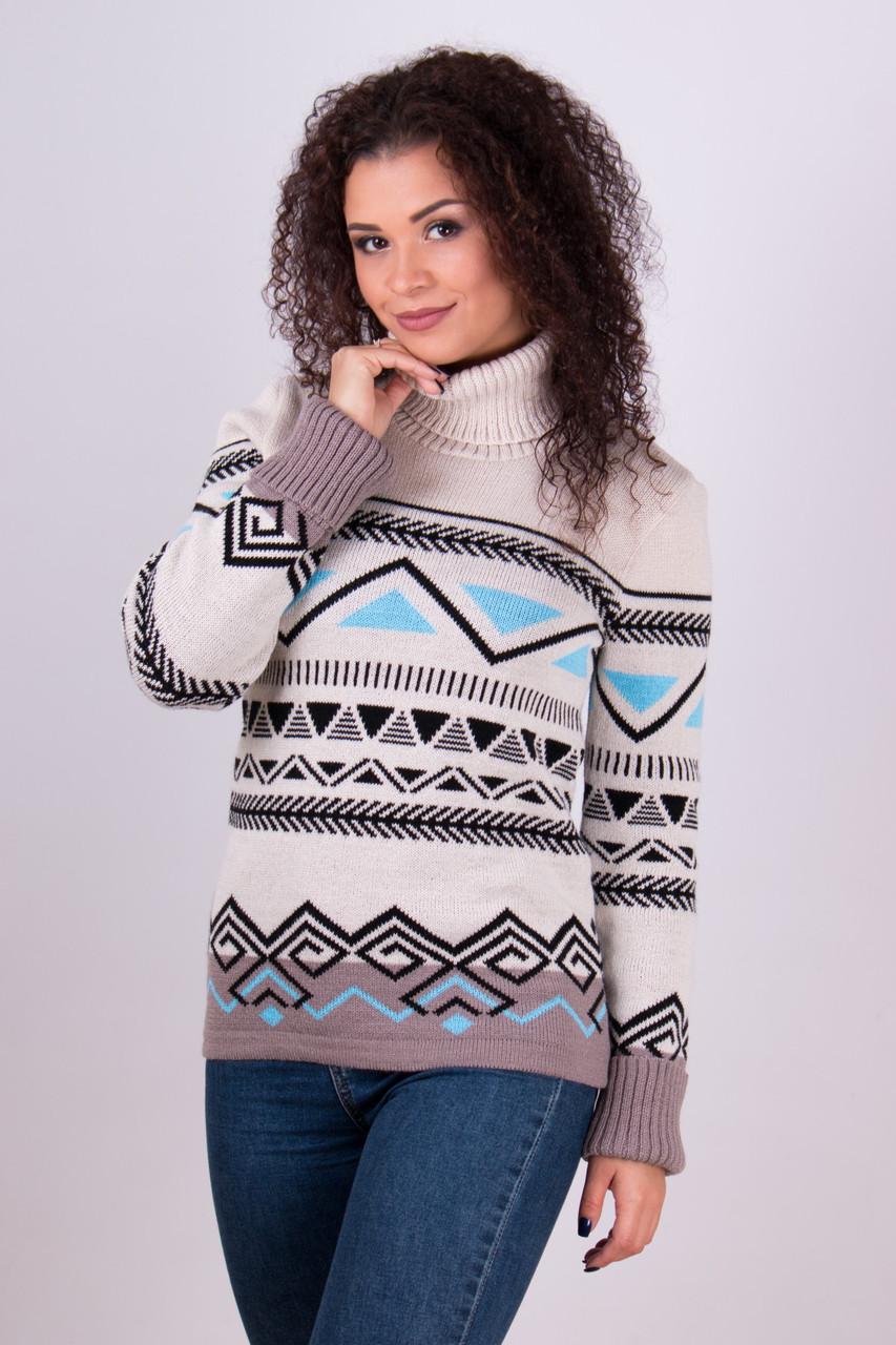 Нежный красивый свитер зимний под горло размер 42-50