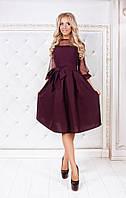 Женское стильное платье с юбкой солнце + отделка сетка