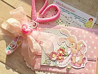 """Набор Ножницы и конверт для локона на годик """"Зайка"""" розового цвета"""