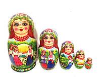 Подарок оригинальный Матрешка большая 17 см ручной росписи 5в1 Украинский стиль (12)