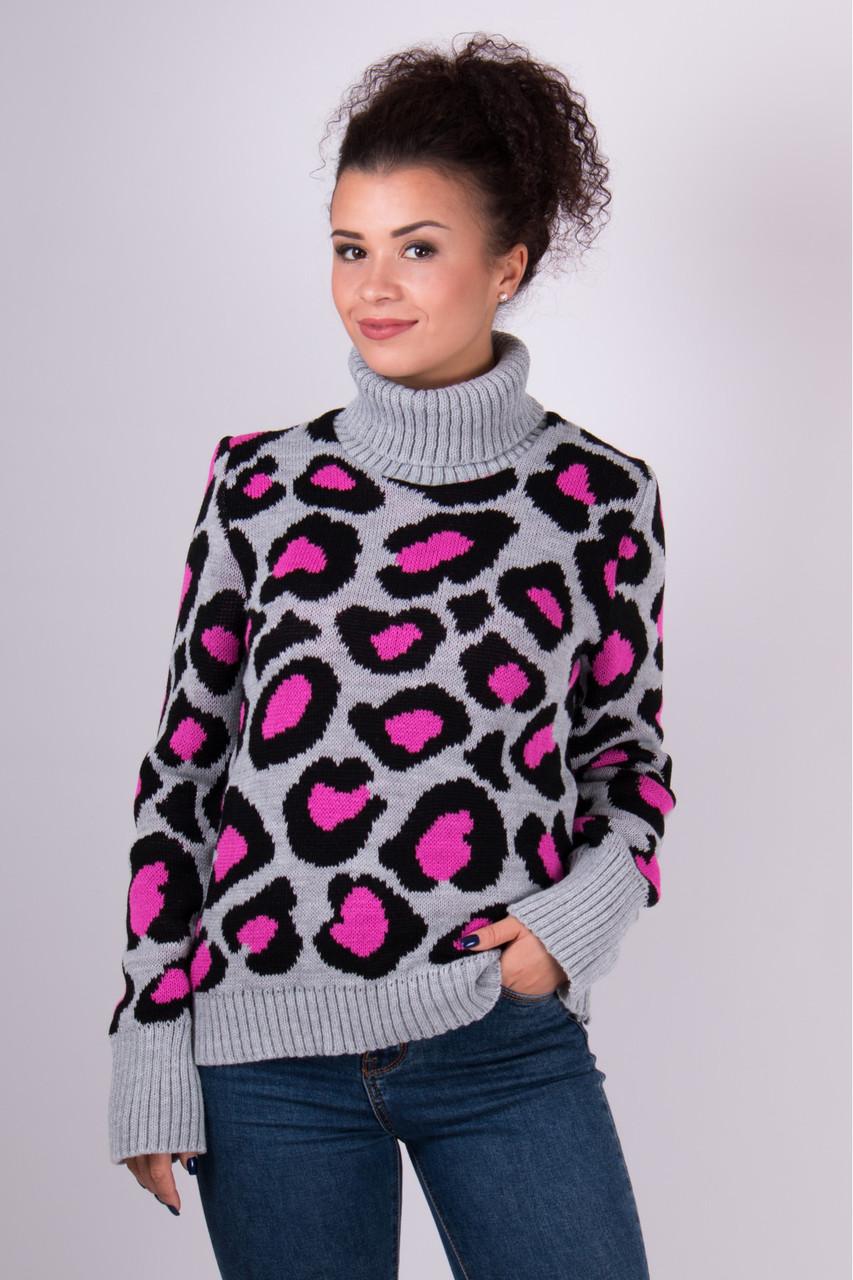 Очень модный свитер в леопардовый принт под горло с длинным рукавом