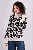 Очень модный свитер в леопардовый принт под горло с длинным рукавом, фото 3