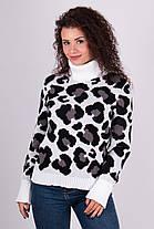 Очень модный свитер в леопардовый принт под горло с длинным рукавом, фото 2
