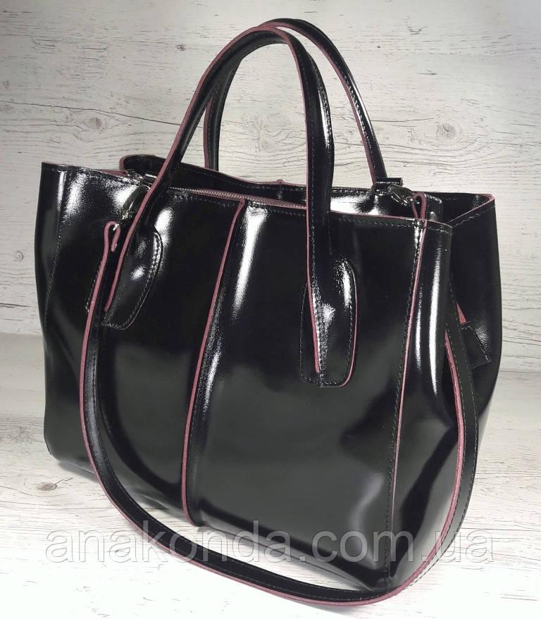 51-1 Натуральная кожа Сумка женская кожаная сумка черная Сумка из натуральной кожи черная Изнанка фуксия
