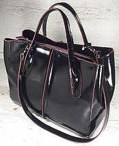 51-1 Натуральная кожа Сумка женская кожаная сумка черная Сумка из натуральной кожи черная Изнанка фуксия, фото 2