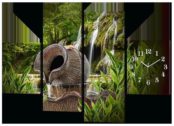 Модульная картина с часами Кувшин с водой на фоне водопада