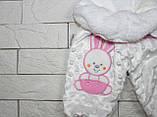 Махровые теплые штаны для девочки бело-розового цвета, фото 2