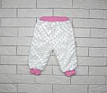 Махровые теплые штаны для девочки бело-розового цвета, фото 3