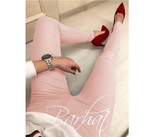 """Жіночі модні облягаючі штани однотонні """"Bonita"""" джеггінси персикові, фото 2"""