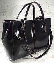 51-1 Натуральная кожа Сумка женская кожаная сумка черная Сумка из натуральной кожи черная Изнанка фуксия, фото 3