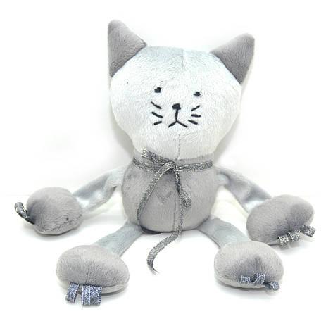 Велюровая игрушка Котик для животных серая, фото 2