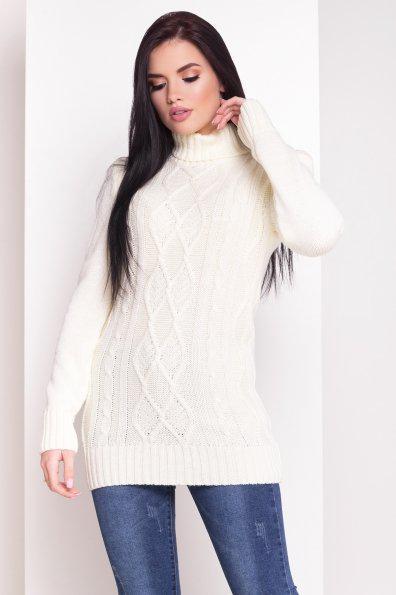 Теплый и красивый свитер белый под горло длинный 42-48