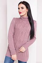 Теплый и красивый свитер белый под горло длинный 42-48, фото 3