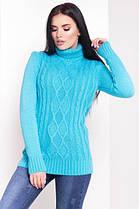 Теплый и красивый свитер белый под горло длинный 42-48, фото 2