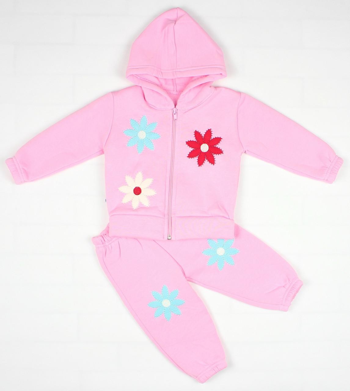Утепленный костюм 2-ка розовым цветом для девочки