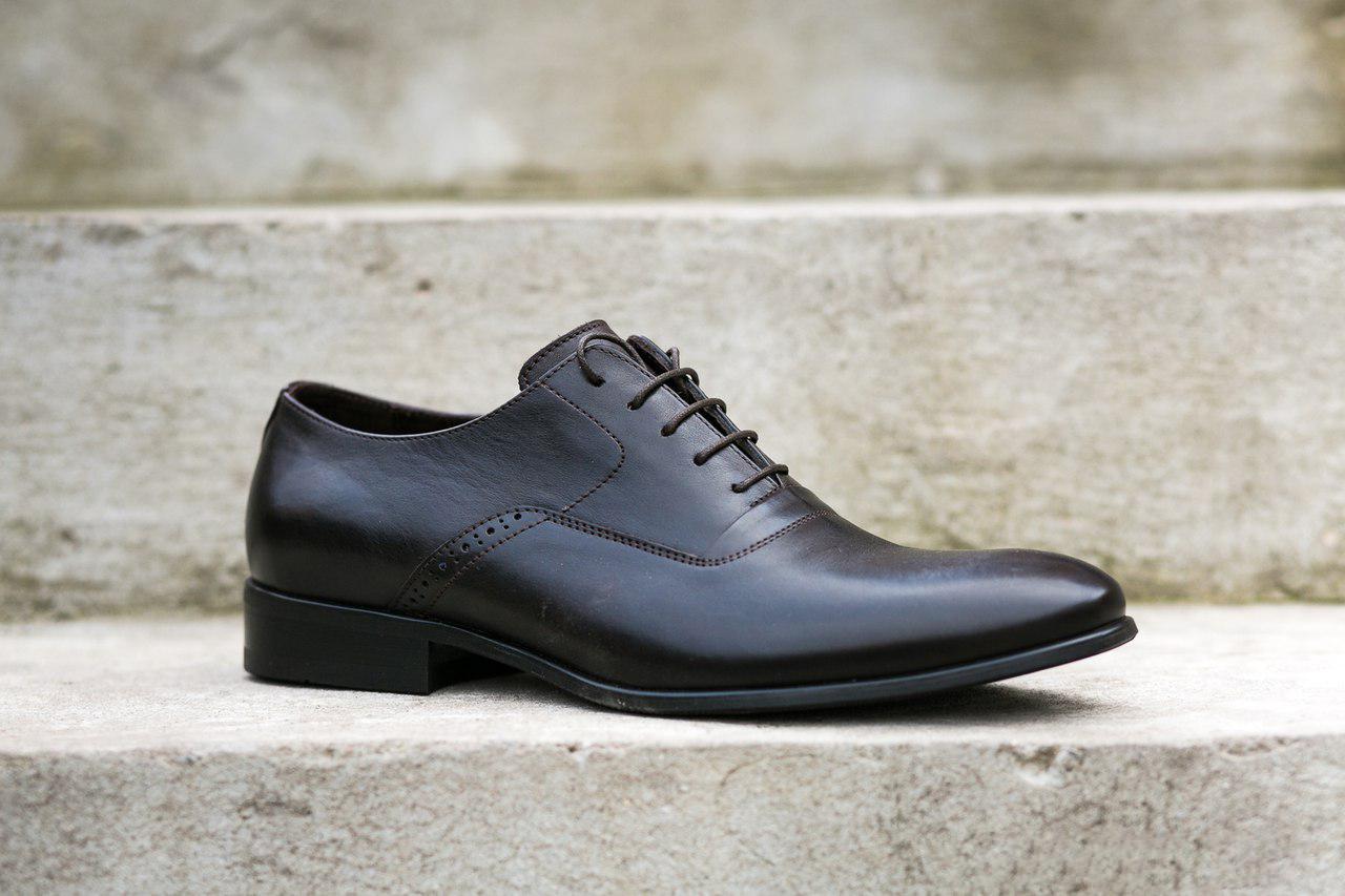 Коричневі туфлі оксфорди ІКОС/IKOS - взуття стильних чоловіків