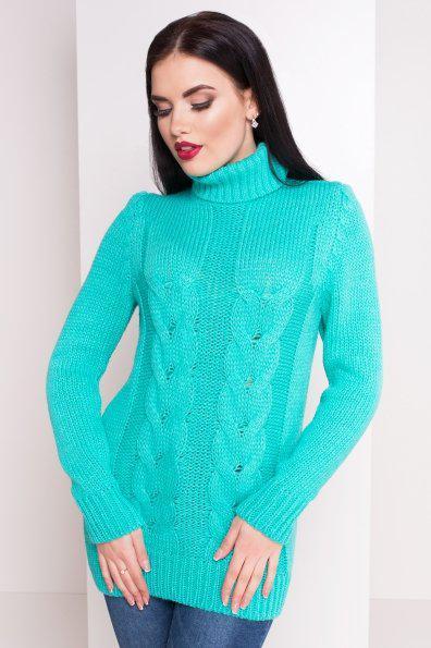 Вязаный женский свитер под горло с длинным рукавом бирюзовый 42-48