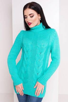 Вязаный женский свитер под горло с длинным рукавом бирюзовый 42-48, фото 2
