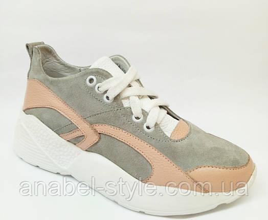 Кроссовки из натуральной замши и кожи на шнуровке цвет серый+беж Код 1733 AR, фото 2