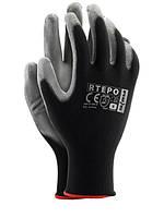 Перчатки защитные рабочие Rtepo стрейчевая покрытая гладким нитрилом  (упаковка 12 пар),