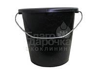 Ведро 10 л с метал ручкой хозяйственное черное тм полимерагро