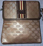 Мужская сумка Gucci 9929-3 коричневая искусственная кожа