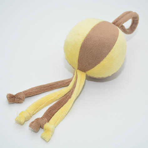 Игрушка для собак и котов Мячик плюш желтый, фото 2
