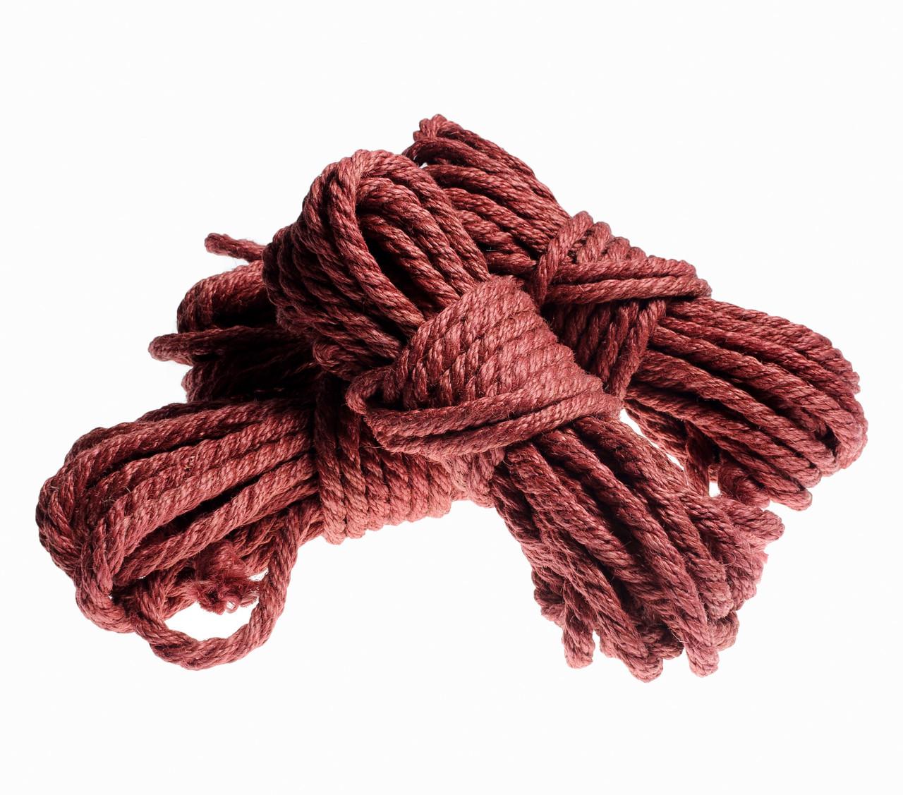 Веревка для шибари, бардовый 6мм/8м, джут