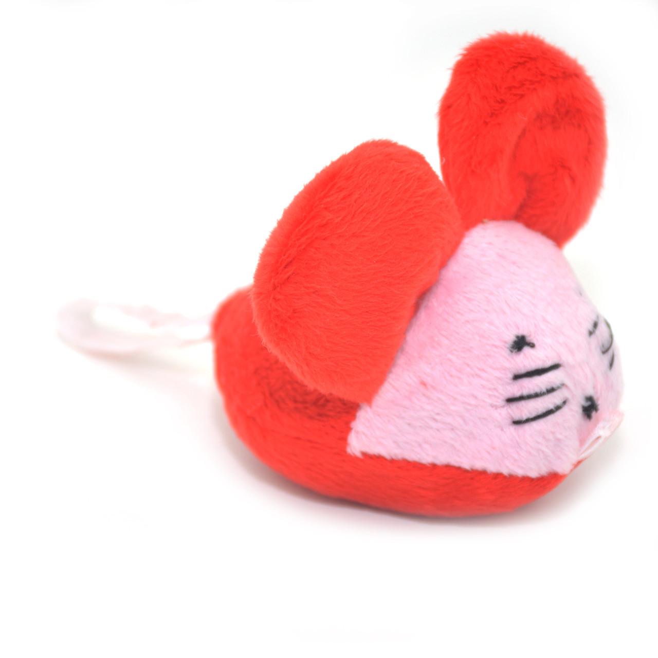 Мягкая игрушка для котов и собак Мышка плюш красно-розовая