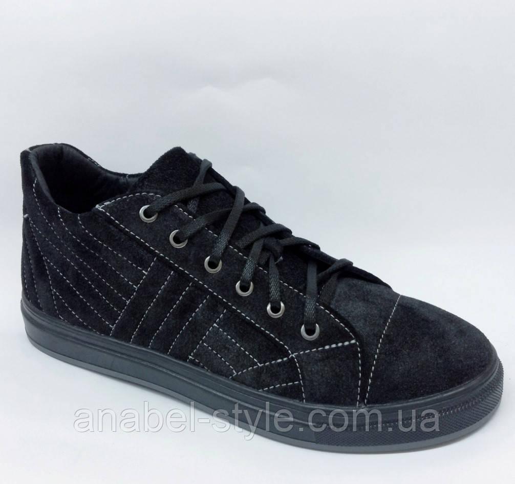 Кеды женские стильные из натуральной замши черного цвета шнуровка Код 1741 AR