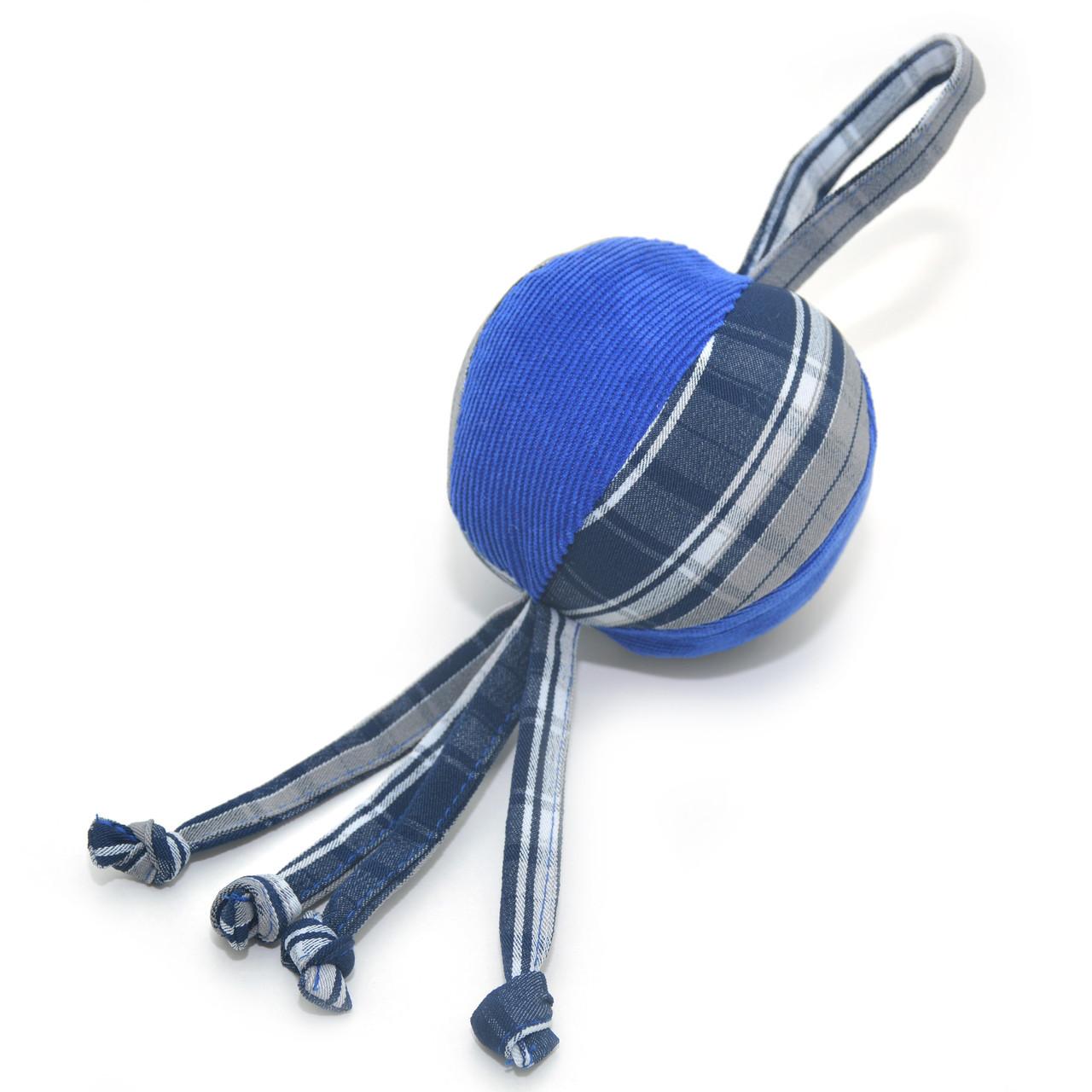 Игрушка для собак и котов Мячик клетка синий