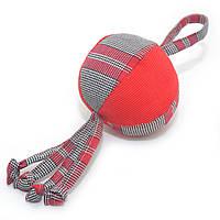 Игрушка для собак и котов Мячик клетка красный