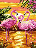 Раскраска для взрослых Фламинго на закате (VK188) 30 х 40 см DIY Babylon